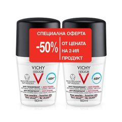Vichy Homme Дезодорант рол-он с 48 часа ефект против изпотяване за мъже 2 х 50 мл Комплект