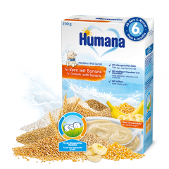 Humana млечна каша 5 зърна с банан 6М+ 200 гр