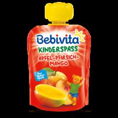 Bebivita забавна плодова закуска ябълка с манго и праскова 12М+ 90 гр