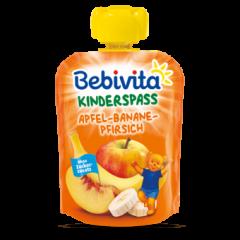 Bebivita забавна плодова закуска ябълка с банан и праскова 12М+ 90 гр
