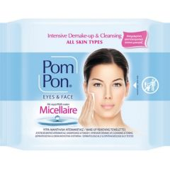 Pom Pon Eyes & Face Почистващи мокри кърпи за грим с мицеларна вода х20 бр