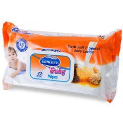 Ganchev Baby Wipes Бебешки мокри кърпички с мед 72 бр