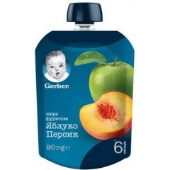 Nestle Gerber Ябълка и праскова Пюре Пауч 6М+ 90 гр