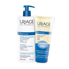 Uriage Xemose Липидо-възстановяващо олио за суха и много суха кожа 500 мл + Подарък: Uriage Xemose Почистващо успокояващо душ-олио за лице и тяло 200 мл Комплект