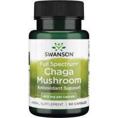 Swanson Full Spectrum Chaga Mushroom Пълен Спектър Гъба Чага 400 мг 60 капсули