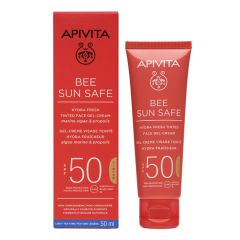 Apivita Bee Sun Safe Тониран хидратиращ освежаващ гел-крем за лице SPF50 50 мл