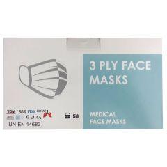 Медицинска трислойна еднократна маска син цвят х 50 бр