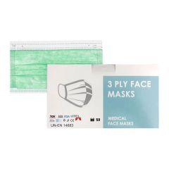Медицинска трислойна еднократна маска зелен цвят х 50 бр