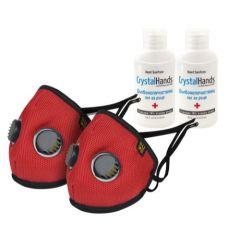 Комплект Eume Protect+ Pro 95 Защитна антибактериална маска за деца с 2 клапана в различни цветове 2 бр + CrystalHands Дълбокопочистващ антибактериален гел за ръце 50 мл 2 бр