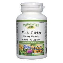 Natural Factors Milk Thistle Млечен бодил при проблеми с черния дроб 250 мг х 90 капсули