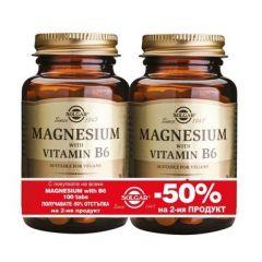 Solgar Magnesium with Vitamin B6 Комплект Магнезий и Витамин В6 благоприятства метаболизма 2 x100 таблетки