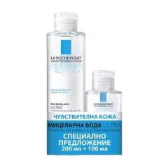 La Roche-Posay Ultra Мицеларна вода за лице за чувствителнакожа 200 мл + La Roche-Posay Ultra Мицеларна вода за лице за чувствителнакожа 100 мл Комплект