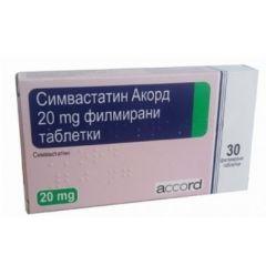Симвастатин Акорд за регулиране на холестерола 3 блистера 20 мг 30 таблетки Accord