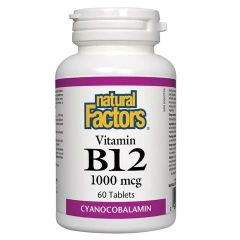 Natural Factors Vitamin B12 Цианкобаламин 1000 мкг х60 таблетки