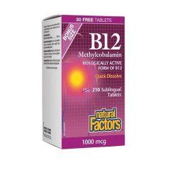Natural Factors B12 Метилкобаламин за нормално състояние на нервната система 1000 мкг х180 разтворими таблетки + 30 бонус