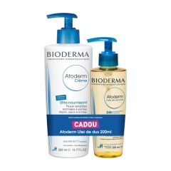 Bioderma Atoderm Успокояващ хидратиращ крем за лице и тяло 500 мл + Bioderma Atoderm Душ-олио за много суха и атопична кожа 200 мл Комплект