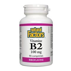 Natural Factors Vitamin B2 Рибофлавин подпомага общото състояние на организма 100 мг х 90 таблетки