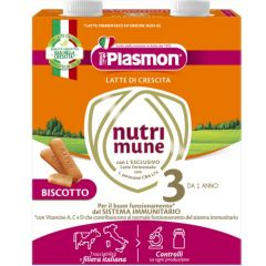 Plasmon NutriMune 3 Мляко с бишкоти за малки деца 12M+ 500 мл 2 бр