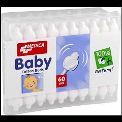 Medica Baby Cotton Buds Клечки за уши с ограничител x60 бр