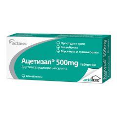 Ацетизал при болка и грипни състояния 500 мг х20 таблетки Actavis