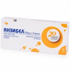 Анзибел мед и лимон при възпаления на гърлото х 20 таблетки за смучене Nobel