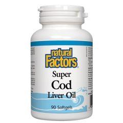 Natural Factors Super Cod Liver Oil Масло от черен дроб на треска за кожата и сърдечно-съдовата система 1100 мг х 90 софтгел капсули