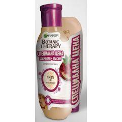 Garnier Botanic Therapy Oil & Almond Шампоан за склонна към накъсване коса с масла от рицин и бадем 250 мл + Garnier Botanic Therapy Oil & Almond Балсам за склонна към накъсване коса с масла от рицин и бадем 200 мл Комплект