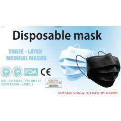 Трипластови медицински маски за еднократна употреба черни х50 бр