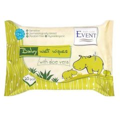 Event Baby Почистващи бебешки мокри кърпи с алое вера за чувствителна кожа x20 бр