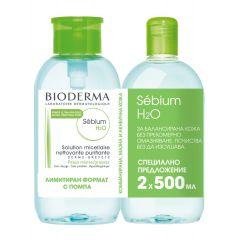 Bioderma Sebium Мицеларна вода за мазна и акнеична кожа 500 мл + Bioderma Sebium Мицеларна вода за мазна и акнеична кожа 500 мл с помпа Промо комплект