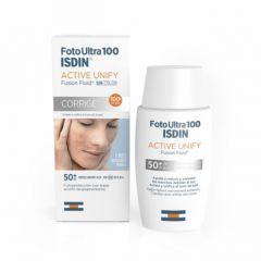 ISDIN FotoUltra 100 Active Unify Слънцезащитен флуид с депигментиращо действие SPF50+ 50 мл