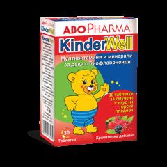 AboPharma KinderWell Мултивитамини и минерали за деца, с добавен витамин D3 х30 таблетки за смучене