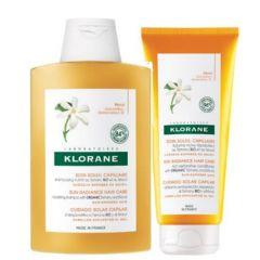 Klorane Polysianes Подхранващ шампоан за след слънце с масло от монои 200 мл + Klorane Polysianes Подхранващ балсам за коса за след слънце с масло от монои 200 мл Комплект