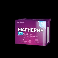 Магнерич при сърдечно-съдови заболявания, мускулни крампи, бременност 500 мг х30 таблетки Actavis