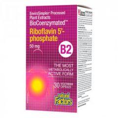 Natural Factors Riboflavin 5 Phospate Витамин B2 за нормалното състояние на кожата и зрението 50 мг х 30 капсули