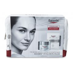 Eucerin Hyaluron-Filler Дневен крем за суха кожа SPF15 50 мл + Подарък: Eucerin Hyaluron-Filler Хидратираща лист маска за лице + Подарък: Несесер Комплект