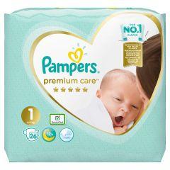 Пелени Papmpers Premium Care Размер 1 New born 26 бр