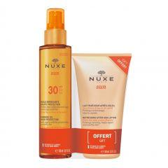 Nuxe Sun Слънцезащитно олио за тен SPF30 150 мл + Подарък: Nuxe Sun Освежаващ лосион за след слънце 100 мл Комплект