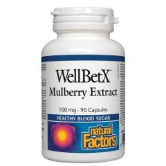 Natural Factors WellBetX Mulberry Extract Бяла черница при диабет и висок холестерол 100 мг х 90 капсули
