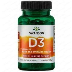 Swanson Vitamin D3 Витамин Д3 5000 IU х 250 капсули