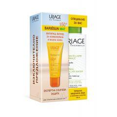 Uriage Bariesun Слънцезащитен матиращ флуид за комбинирана и мазна кожа SPF50+ 50 мл + Uriage Eau Thermale Мицеларна почистваща вода за лице за комбинирана и мазна кожа 100 мл Комплект