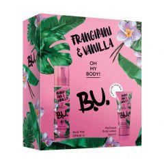 B.U. Frangipani & Vanilla Спрей-мист за тяло с аромат на франджипани и ванилия 200 мл + B.U. Frangipani & Vanilla Лосион за тяло за жени 50 мл Комплект