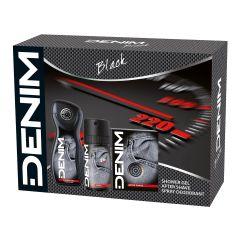 Denim Black Лосион за след бръснене 100 мл + Denim Black Дезодорант спрей за мъже 150 мл + Denim Black Енергизиращ душ-гел за мъже 250 мл Комплект