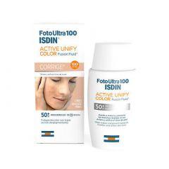 ISDIN FotoUltra 100 Active Unify Color Слънцезащитен тониран флуид с депигментиращо действие SPF50+ 50 мл