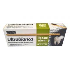 Ултрабланка избелваща паста за зъби 75 мл + Бамбукова четка Aflofarm Промо комплект