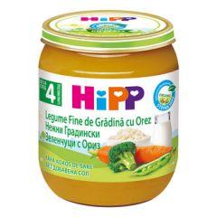 Hipp био пюре нежни зеленчуци с ориз 4М+ 125 гр