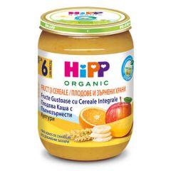 Hipp био пълнозърнеста каша плодова 6М+ 190 гр
