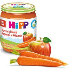 Hipp био пюре ябълка с морков 4М+ 125 гр
