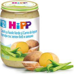 Hipp пюре картофи със зелен боб и заешко 12М+ 220 гр