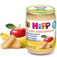 Hipp био пълнозърнеста каша ябълки, банани и бисквити 4М+ 190 гр
